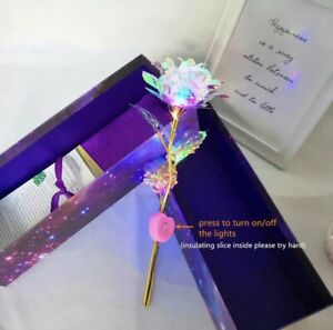 24K Gold Foil Rose Flower LED Luminous Galaxy Mother#x27;s Day Thanksgiving Day Gift $9.99