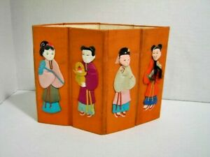 Vintage Silk amp; Paper Chinese Dolls on Cloth Covered Cardboard 8 Figures c.1940 $23.75