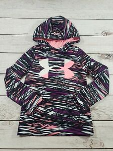 Girls Youth Under Armour Hoodie Hooded Sweatshirt Size Small Black Pink K6 $19.99