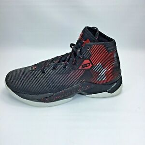 Stephen Curry Under Armour Shoes Mens Sz 7.5 Black and Read Lace Up High Tops $34.74