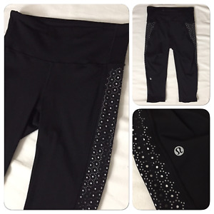 1220004 Lululemon Wunder Under Black Size 6 Capri Cropped Leggings Workout Pants $34.95