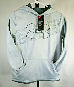 *NWT* Under Armour Boys Armour Fleece Logo Hoodie Gray Youth Sizes YMD YXL $22.99