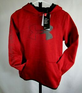*NWT Under Armour Boys Armour Fleece Logo Pullover Hoodie Red Youth Size YLG $22.99