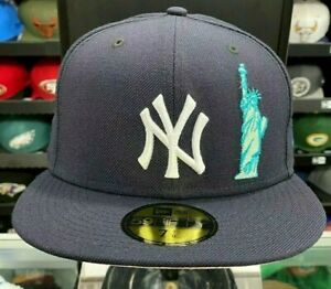 New York Yankees Statue of Liberty Pink Under Flat Brim New Era Cap NEW Size 8 $99.99