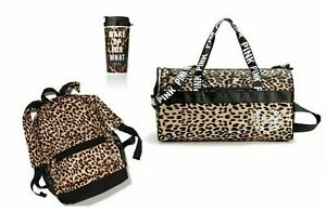 Victorias Secret PINK Backpack Duffel amp; Coffee Cup Leopard NEW $209.99