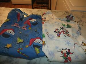 COOKIE MONSTER amp; MICKEY W FRIENDS CHRISTMAS SCRUBS LOT OF 2 WOMEN#x27;S S CMUBS