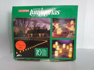 Electric Luminarias Open Box Set Of 10 Brown Bags Holiday Path Outdoor Lights