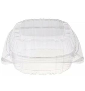 100pc Clear Plastic Square Hinged Food Container 5quot; Lx 5quot; Wx 2.75quot; D $31.00