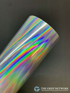 Glossy Rainbow Silver Holographic Adhesive Vinyl Oil Slick Great for Crafts