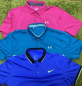 Lot 3 Nike Under Armour Golf Polo Shirts Mens Blue Pink Poly Athletic sz: L $39.99