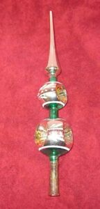 Vintage 12quot; Hand Blown Glass Christmas Tree Topper Indents Triple Double $45.00