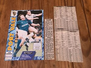 Port Vale v Portsmouth Barclays League Division 2 Football Programme 11 1 1992