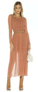 NWT Free People Hello And Goodbye Mesh Floral Maxi Dress Size Small Long Sleeve