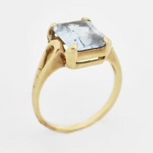 10k Yellow Gold Vintage Open Band Blue Topaz Ring Size 6.25 $145.49