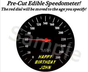 Racing Speedometer EDIBLE Cake Cupcake Image Topper Dial Moves to Age Speed $15.99