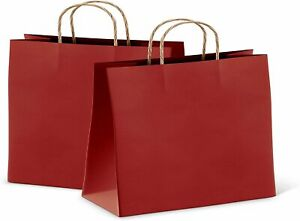 Red Retail Shopping Kraft Gift Paper Bags With Handles 16x6x12 Pack of 25 $25.91