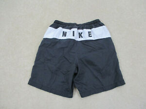 VINTAGE Nike Shorts Adult Small Black White Athletic Outdoors Swoosh Mens 90s A9 $18.88