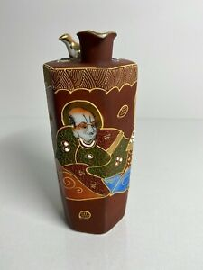 VINTAGE JAPANESE CERAMIC SATSUMA IMMORTAL KUTANI SAKE BOTTLE LITHOPHANE GOLD