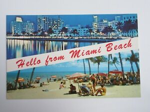 Hello for Miami Beach FLORIDA Vintage Chrome Postcard