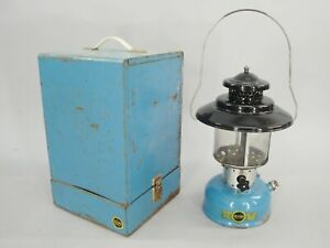 1960s Vintage Sears Coleman Blue Camp Lantern with Steel Case Model 476.74070 $300.00