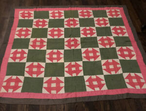 Antique Pa. Monkey Wrench Quilt Pink Amf Green ca. 1900 $200.00