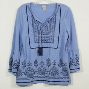 Chicos Peasant Blouse Size 0 Small Tassels Blue Embroidered Bell Sleeves $14.99