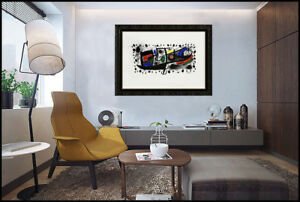 Joan Miro Und Katalonien Color Lithograph Signed Abstract Modern Framed Artwork $1295.00