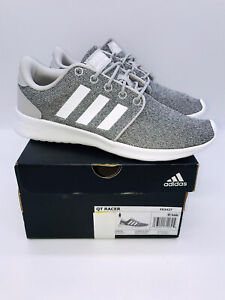 adidas Womens Cloudfoam QT Racer Lightweight Lace Up Sneakers GRAY $19.99