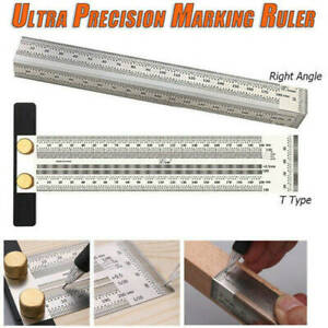 Precision Marking Ruler T Type Square Woodworking Scriber Measuring Tool CS $9.99