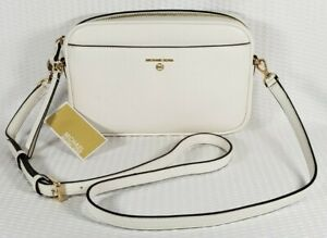 Michael Kors Jet Set Charm East West Leather Camera Crossbody White $101.25