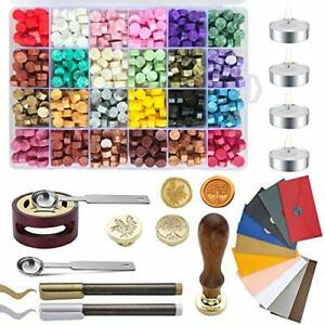 Wax Seal Kit Wax Sealing Kit with 768 Pieces Sealing Wax Beads 2 Wax Stamps 4... $44.39
