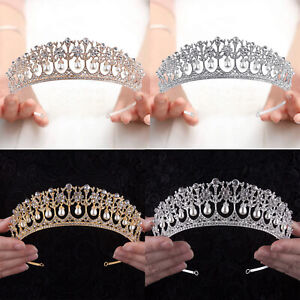 Crystal Rhinestone Crown Queen Bride Tiara for Women Girls Headdress Vintage $16.14