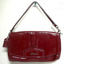 COACH BAG WINE RED PATENT LEATHER FLAP CREDIT CARD WRISLET WALLET PURSE