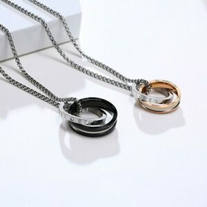 Mens Womens Interlocked Ring Pendant Necklace Love Engraved Couples Chain Match