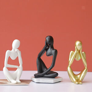 Abstract Thinker Sculpture Figurine Home Office Bookshelf Modern Statues $10.96