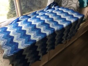 Throw Afghan home made vintage 70s style Blue Colors $22.49