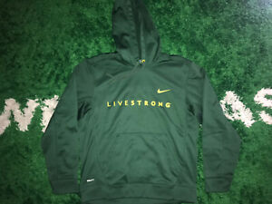Men's NIKE FIT THERMA LIVESTRONG HOODIE HOODED SWEATSHIRT Size M Green Yellow $29.99