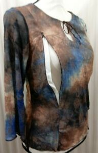 Breastfeeding Nursing Blouse Brown Blue Butterflies Zip To Feed Size XL NEW