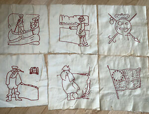 Lot 24 Red Work Embroidered Quilt Squares Colonial America Revolution Natives