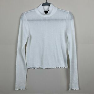 Urban Outfitters Out From Under Large White Thermal Mock Neck Crop Shirt Top $14.99