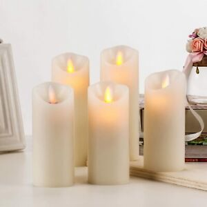 BRAZING CANDLES 5 pc set of LED Flameless Ivory Candles w Remote Control Timer
