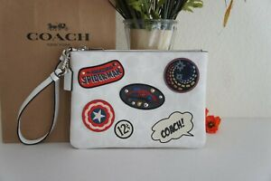 NWT Coach 3576 Marvel Gallery Pouch In Signature Canvas With Patches $198
