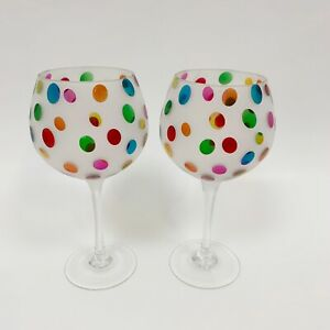 PIER 1 Wine Glasses Frosted Color Dots Polka Dots Set Of 2 Balloon Blown Glass $49.95