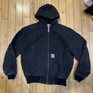 Vtg Carhartt Jacket Size Large Made In Usa Black Hooded Distressed Work Wear