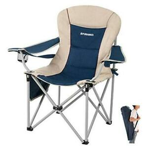 Oversize Folding Camping Padded Outdoor Chair with Lumbar Suppot Cup Grey