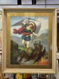 Antique Fridolin Leiber 19th Century Chromolithograph Print Framed St. Michael $175.00