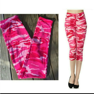 Pink Camouflage Women#x27;s Capri Leggings Plus Size NEW IN PACKAGE