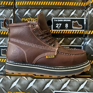 MEN#x27;S WORK BOOTS MOC TOE GENUINE LEATHER LACE UP SAFETY BROWN COLLAR SOFT #714 D