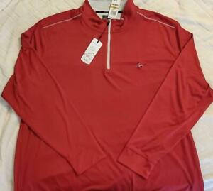 NWT $85 Greg Norman Attack Life mens L S 1 4 zip mock Banner Red pullover 4XLT