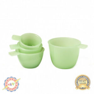 Set of 4 Jade Green Glass Measuring Cups Vintage Country Kitchen Accents $21.90